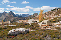 Backcountry camp above Cutthroat Pass North Cascades Washington