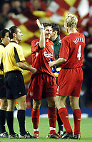 Photo: Javier Garcia/Digitalsport<br /> Liverpool v Olimpiacos, UEFA Champions League 08/12/04, Anfield<br /> Steven Gerrard celebrates with Sami Hyppia at full time
