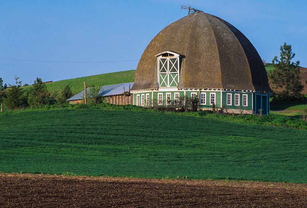 """The Leonard Barn, frequently referred to as the """"round barn"""" was built by Thomas Andrew (Andy) Leonard in 1917 following the destruction (by fire) of his first barn. Thomas designed and constructed the barn after seeing round barns in Ohio on a trip east. Pullman, Washington, USA"""