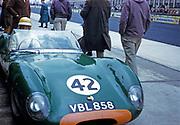 Nürburgring 1000 Kilometres 28 May 1961, woman sitting in Lola Mk.1 car driven in race by Bill de Selincourt