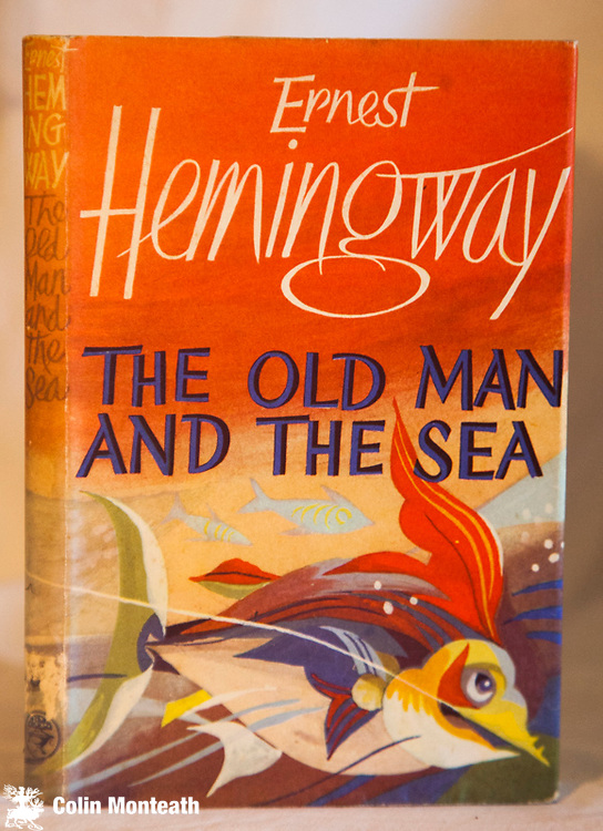 THE OLD MAN AND THE SEA - Ernest Hemingway, Jonathan Cape, London, 1975 edn.,( first published 1952)  with original beautifully designed jacket, almost as new, Hemingway's famous novel...spare but powerful writing - $NZ120