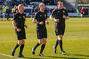 Match referee Willie Collum and his 2 assistants ahead of  the Ladbrokes Scottish Premiership match between St Mirren and Dundee at the Paisley 2021 Stadium, St Mirren, Scotland on 30 March 2019.