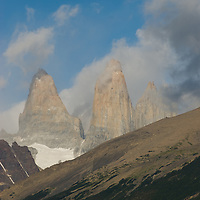 Clouds encircle the Towers of Paine in Torres del Paine National Park, Chile