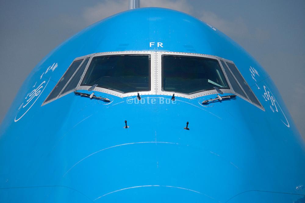 passengers KLM jumbo jet airplane cockpit view
