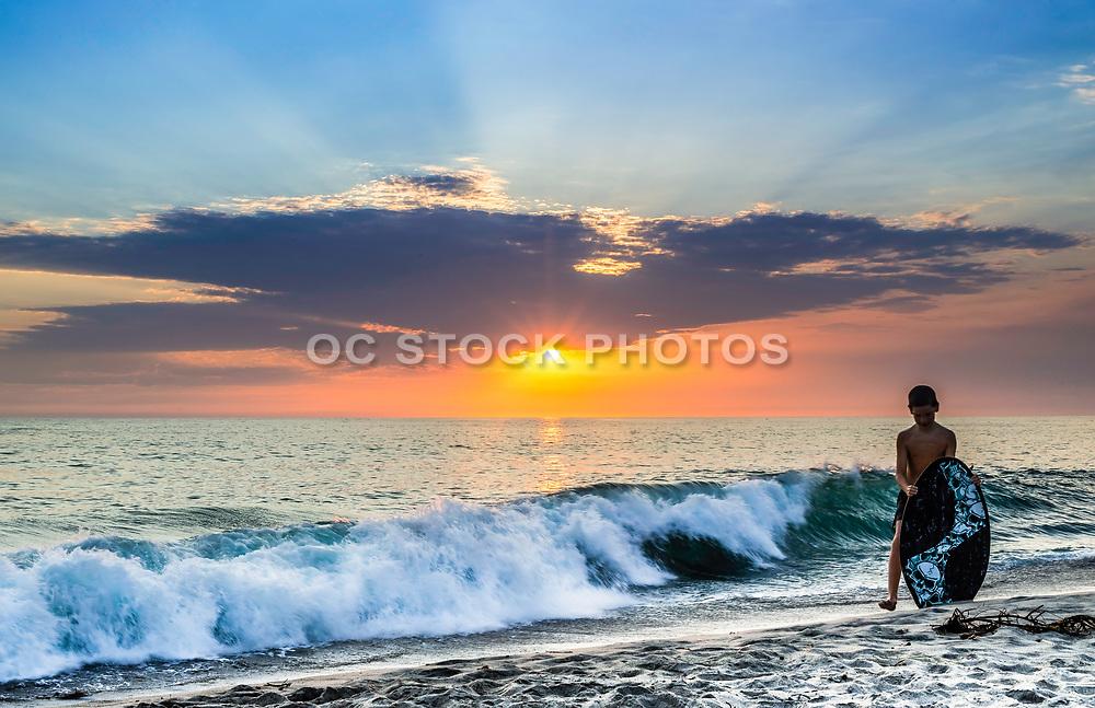 Skim Boarder On Tamarac Beach At Sunset