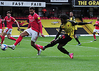 Football - Sky Bet Championship - Watford vs Nottingham Forest - Vicarage Road<br /> <br /> Joseph Hungbo of Watford and Cyrus Christie of Nottingham Forest<br /> <br /> Credit : COLORSPORT/ANDREW COWIE