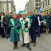 London, UK. 18th March 2018. Mayor of London Sadiq Khan,Gloria Hunniford join the parade of the London's St Patrick's Day 2018 parade from Green Park to Trafalgar Square on 19th March 2017.