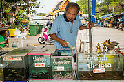 04 JANUARY 2012 - BANGKOK, THAILAND:  A man who sells fish that are released into a nearby canal blesses his fish tanks after his first sale of the day at Wat Mahabut in eastern Bangkok. The temple was built in 1762 and predates the founding of the city of Bangkok. Just a few minutes from downtown Bangkok, the neighborhoods around Wat Mahabut are interlaced with canals and still resemble the Bangkok of 60 years ago. Wat Mahabut is a large temple off Sukhumvit Soi 77. The temple is the site of many shrines to Thai ghosts. Many fortune tellers also work on the temple's grounds.   PHOTO BY JACK KURTZ