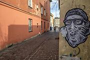 2020-02-18 Kraków. Graffiti na ul. Lewkowa na Krakowskim Kazimierzu.