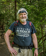 Science teacher hiking Mt. Le Conte trail, Great Smoky Mountains, July 29, 2018.