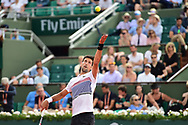 Novak Djokovic (SRB) serves during the preliminary rounds of the Roland Garros Tennis Open 2017 at Roland Garros Stadium, Paris, France on 2 June 2017. Photo by Jon Bromley.