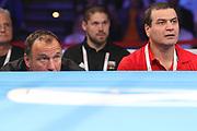 Boxen: AIBA Box-WM, Day 3, Hamburg, 20.08.2017<br /> 64 Kg: Luke McCormack (ENG, Red) - Artem Harutyunyan (GER, Blue)<br /> Trainer Michael Timm (l.) und Artur Grigorian(GER)<br /> © Torsten Helmke