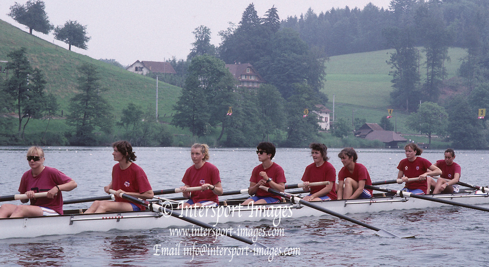 Lucerne, SWITZERLAND GBR W8+. Bow, Suzanna KIRK, Gillian LINDSEY, Dot BLACKIE, Agatha BARNETT, KiM THOMAS, Susan SMITH, Kate GROSE, kate BROWNOW. 1992 FISA World Cup Regatta, Lucerne. Lake Rotsee.  [Mandatory Credit: Peter Spurrier: Intersport Images] 1992 Lucerne International Regatta and World Cup, Switzerland