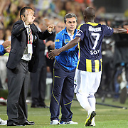 Fenerbahce's celebrates his goal Moussa Sow during their Turkish Superleague soccer derby match Fenerbahce between Besiktas at Sukru Saracaoglu stadium in Istanbul Turkey on Sunday 07 October 2012. Photo by TURKPIX