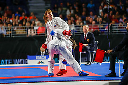 November 10, 2018 - Madrid, Madrid, Spain - Isaeva Victoria (RUS) figth with Zaretska Irina (AZE) for the gold medal and win the tournament of Female Kumite -68 Kg during the Finals of Karate World Championship celebrates in Wizink Center, Madrid, Spain, on November 10th, 2018. (Credit Image: © AFP7 via ZUMA Wire)