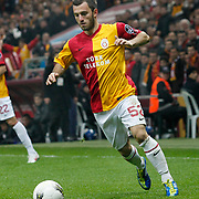 Galatasaray's Emre Colak On or with the ball (stood full) during their Turkish superleague soccer derby match Galatasaray between Besiktas at the TT Arena at Seyrantepe in Istanbul Turkey on Sunday, 26 February 2012. Photo by TURKPIX