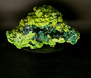 Tsumebite is a rare phosphate mineral named in 1912 after the locality where it was first found, the Tsumeb mine in Namibia, well known to mineral collectors for the wide range of minerals found there. Tsumebite is a compound phosphate and sulfate of lead and copper, with hydroxyl, formula Pb2Cu(PO4)(SO4)(OH). Photographed at the Natural History Museum, Vienna, Austria