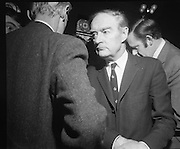 Mr Liam Cosgrave,Leader of Fine Gael,at Vote Count. (E48).1973..01.03.1971..03.01.1973..1st March 1973..As the ballot boxes were opened in Dun Laoghaire Town Hall, Mr Cosgrave and his supporters watched as the voting papers were piled high. The vote was as the result of an often hectic General Election campaign. Mr Cosgrave was hoping his party would garner enough votes to oust the sitting Fianna Fail Government which had held power for sixteen years...Picture of a pensive Liam Cosgrave,Leader of Fine Gael, and one of his supporters as he contemplates his result and how the rest of the general election voting is proceeding for his party.