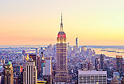 Aerial view of Midtown Manhattan skyline featuring the Empire State Building and Freedom Tower from Top of the Rock, New York City.