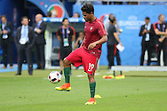 Portugal Defender Eliseu in warm up during the Euro 2016 final between Portugal and France at Stade de France, Saint-Denis, Paris, France on 10 July 2016. Photo by Phil Duncan.