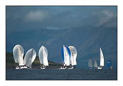 Largs Regatta Week - August 2012.Round the Island Race.Class 3 fleet downwind towards Arran