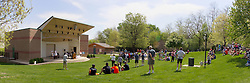10 May 2014:  Panoramic of festivities of the 25th anniversary celebration of the Constitution Trail ceremony at Connie Link Amphitheater in Normal Illinois<br /> <br /> This image was created by using panoramic stitching processes.  In editorial situations it should be described as an illustration.
