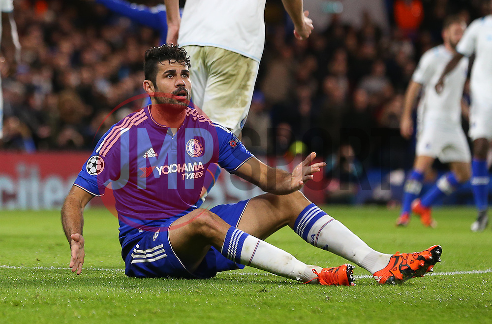 Diego Costa of Chelsea reacts after a decision does not go his way - Mandatory byline: Paul Terry/JMP - 09/12/2015 - Football - Stamford Bridge - London, England - Chelsea v FC Porto - Champions League - Group G