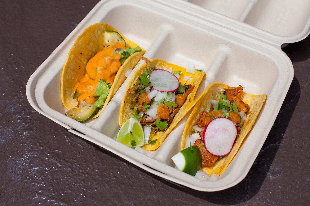 Pollo, carnitas & veggie tacos from Rebel Taco at The Bourse ($10.80)