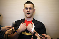 Dan Lydiate of Wales speaks to the press at the Wales Rugby team announcement press conference at the Vale Resort, Hensol near Cardiff, South Wales on Wed 24th February 2016. The team are preparing for the the RBS Six nations championship match against France on Friday night.<br /> pic by  Andrew Orchard, Andrew Orchard sports photography.