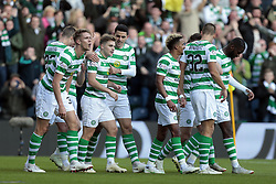 Celtic's James Forrest (third left) celebrates scoring their second goal against Heart of Midlothian with Tom Rogic (fourth left) during the Betfred Cup semi final match at BT Murrayfield Stadium, Edinburgh.