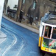 Lisbon's 28 tram at descending one of the seven hills