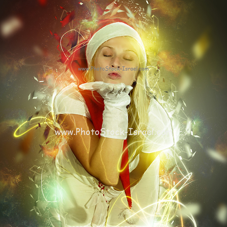 Blonde woman with Santa Hat