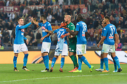 October 14, 2017 - Rome, Italy - Lorenzo Insigne, Jose Manuel Reina, Piotr Zielinski, Kalidou Koulibaly during the Italian Serie A football match between A.S. Roma and S.S.C. Napoli at the Olympic Stadium in Rome, on october 14, 2017. (Credit Image: © Silvia Lor/Pacific Press via ZUMA Wire)