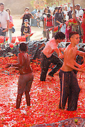 Israel, Negev, Eshkol Region, The tomato festival October 2005. Children in a tomato pool