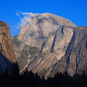 Half Dome And Wispy Clouds - Yosemite Valley Meadow - Yosemite