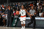 January 8, 2017: Jessica Thomas #3 of Miami in action during the NCAA basketball game between the Miami Hurricanes and the Notre Dame Fighting Irish in Coral Gables, Florida. The 'Irish defeated the 'Canes 67-55.