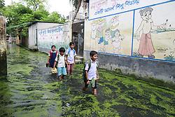 August 8, 2017 - Dhaka, Bangladesh - Bangladeshi school children walk on a flooded street as they return home after finishing school at Demra, in Dhaka, Bangladesh. (Credit Image: © Suvra Kanti Das via ZUMA Wire)