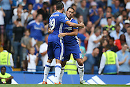 Eden Hazard of Chelsea  (r) celebrates with Diego Costa of Chelsea after scoring his sides 1st goal to make it 1-0. Premier league match, Chelsea v Burnley at Stamford Bridge in London on Saturday 27th August 2016.<br /> pic by John Patrick Fletcher, Andrew Orchard sports photography.