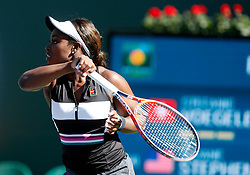 March 8, 2019 - Indian Wells, CA, U.S. - INDIAN WELLS, CA - MARCH 08: Sloane Stephens (USA) hits a forehand during the second round of the BNP Paribas Open on March 08, 2019, at the Indian Wells Tennis Gardens in Indian Wells, CA. (Photo by Adam Davis/Icon Sportswire) (Credit Image: © Adam Davis/Icon SMI via ZUMA Press)