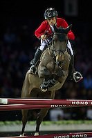 Pius Schwizer on Balou Rubin R competes during Longines Speed Challenge at the Longines Masters of Hong Kong on 20 February 2016 at the Asia World Expo in Hong Kong, China. Photo by Juan Manuel Serrano / Power Sport Images