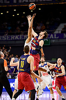 Real Madrid's Anthony Randolph and FC Barcelona Lassa's Ante Tomic duringTurkish Airlines Euroleague match between Real Madrid and FC Barcelona Lassa at Wizink Center in Madrid, Spain. March 22, 2017. (ALTERPHOTOS/BorjaB.Hojas)