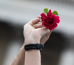 Trafalgar Square, London, June 22nd 2016. Thousands of people flood London's Trafalgar Square to celebrate what would have been slain Labour MP for Batley & Spen Jo Cox's 42nd birthhday. PICTURED: Two hands joined together hold aloft a red rose as Jo Cox is remembered.