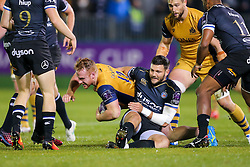 Will Hurrell of Bristol Rugby is tackled by Jeff Williams of Bath Rugby - Rogan Thomson/JMP - 20/10/2016 - RUGBY UNION - The Recreation Ground - Bath, England - Bath Rugby v Bristol Rugby - EPCR Challenge Cup.