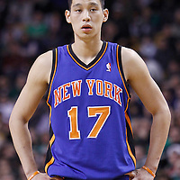 04 March 2012: New York Knicks point guard Jeremy Lin (17) rests during the Boston Celtics 115-111 (OT) victory over the New York Knicks at the TD Garden, Boston, Massachusetts, USA.
