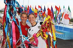 06.08.2014, Krylatskoe, Moskau, RUS, ICF, Kanu WM 2014, Moskau, im Bild Sabrina Hering (Karlsruhe) und Steffi Kriegerstein (Dresden) waehrend der Eroeffnungsfeier der Kanu-WM in Moskau // during the ICF Canoe Sprint World Сhampionships 2014 at the Krylatskoe in Moskau, Russia on 2014/08/06. EXPA Pictures © 2014, PhotoCredit: EXPA/ Eibner-Pressefoto/ Freise<br /> <br /> *****ATTENTION - OUT of GER*****