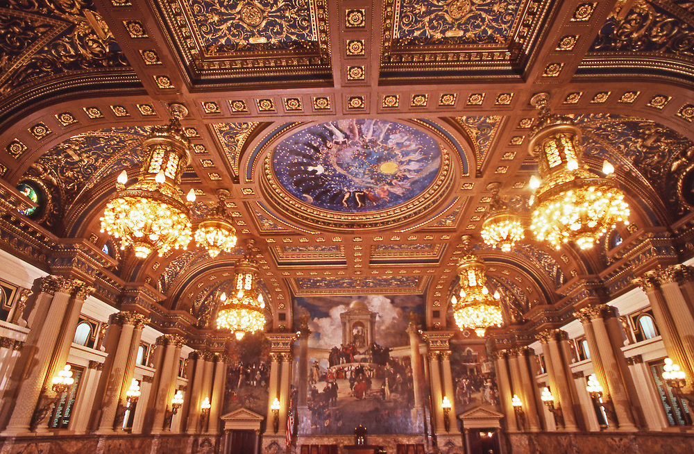 PA Capitol House of Representatives, Edwin Abbey Artist, Architect Huston, Harrisburg, Pennsylvania