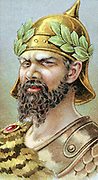 Atilla (Attila c406-453) King of the Huns from 434, known as 'The Scourge of God'. Representation from 19th century chromolithograph.