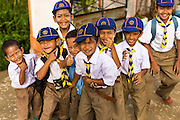 11 JULY 2013 - PATTANI, PATTANI, THAILAND:   Thai Cub Scouts at the Bantaladnadklongkud School in Pattani. There are 108 students at Bantaladnadklongkud School and they are all Muslims. Five of the school's eight teachers are Buddhists.    PHOTO BY JACK KURTZ