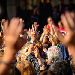Supporters raise their hands in support during a rally for Proces Constituent.