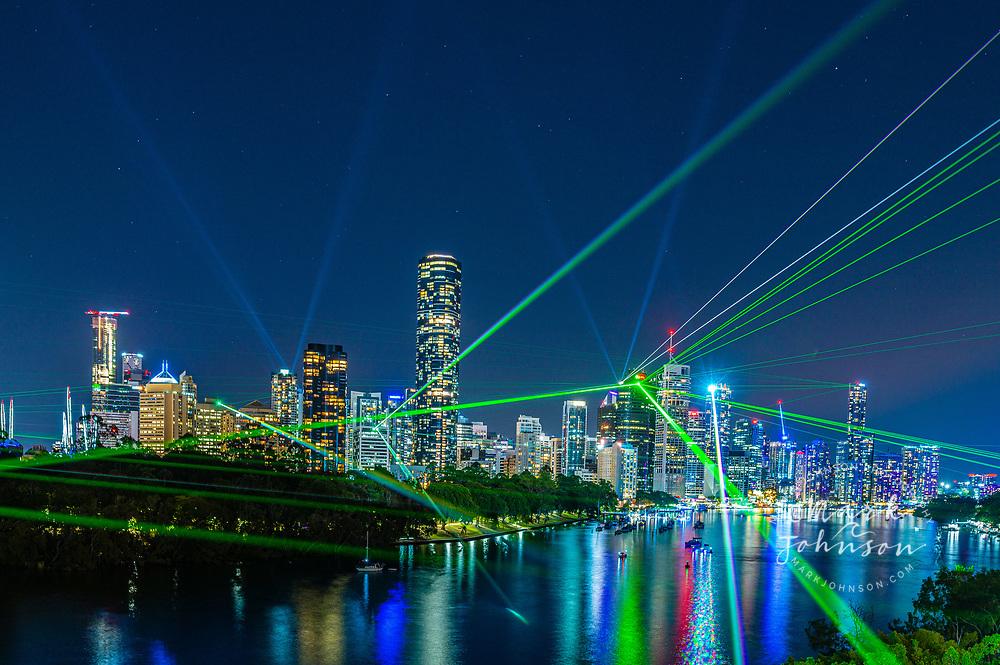 Laser light show over Brisbane from Kangaroo Point, Queensland, Australia